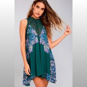 Free People Marsha Teal Green Lace Slip Dress S